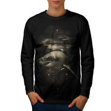 Wellcoda Shark Great White Mens Long Sleeve T-shirt, Wild Ocean Graphic Design
