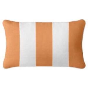 Classic Stripe - Premium Cushion Cover   Quality Indoor Outdoor Orange White