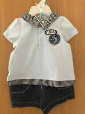 DESIGNER GUESS BABY BOY POLO TOP GINGHAM MIX & SHORTS SET, BNWT, 6-9 MONTHS