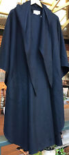 Leon Filips Vintage Black Wool  coat Cloak cape Wrap Poncho Hood 10 12 14 16 EUC
