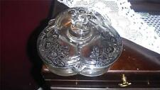 STERLING SILVER OVERLAY LIDDED 3 PART CONDIMENT DISH MARKED 1920-1930