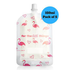 NEW Sinchies 150ml Flamingos Reusable Food Pouches Top Spout BPA Free Pack of 5