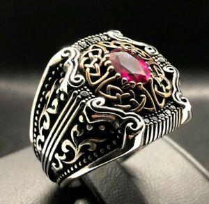 Carved Details 925k  Sterling Silver Stylish Red Zircon Filigree Men's Ring