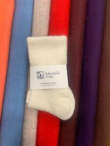 100% Pure Cashmere Socks | Johnstons of Elgin | Made in Scotland | White | Soft