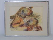 "Vintage Framed Seashells Watercolor Illegible Signature 20 1/2"" x 16 1/4"""