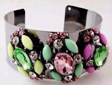 Multi Gem Pewter Statement Bracelet Cuff • Wedding Party Gift PRESENT Birthday