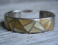 Vintage Native Navajo Mother Of Pearl Sterling Silver Lee McCray Cuff Bracelet