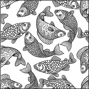 Background - Wallpaper - Fish - Aquatic #1 Unmounted Clear Stamp Approx 75x75mm