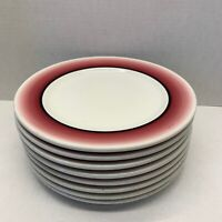 """8 MAYER China Red Fade Out Hand Painted 9"""" Plate 1954 Vintage"""