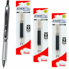 Pentel EnerGel Alloy RT BL407A Pen, 0.7mm, Black Ink With 3 Packs of Refills