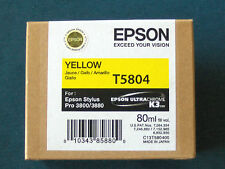 New in Box Exp 06-2013 Genuine Epson Pro 3800 3880 Yellow K3 Ink T5804 T580400