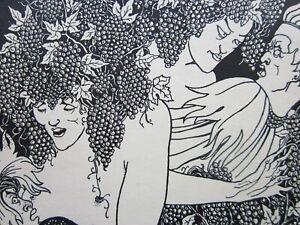 Antique AUBREY BEARDSLEY Line Block Print c.1900's, LUCIANS, Strange Figures