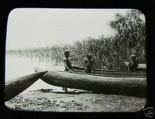 Glass Magic Lantern Slide CHILDREN WITH DUGOUT CANOES C1910 AFRICA ?