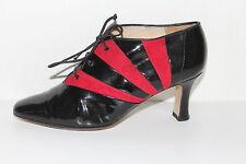 80er 80s Vintage Leder Damen Schuhe Lace Up PUMPS BROGUES ANKLE BOOTIES 38 VTG