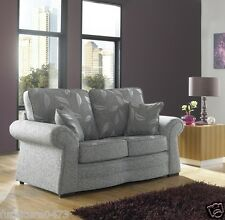 Grey High Quality Fabric Material 2 Seater Sofa Suite ROMFORD