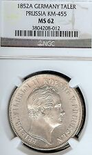 Germany Prussia 1852 A Mining Taler Coin Thaler NGC MS 62 VZ/F.Stg  Deutschland