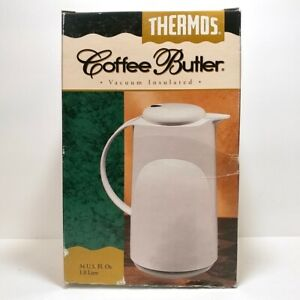 Vintage THERMOS Coffee Butler - Model 300/50 - 34 oz White Vacuum Insulated