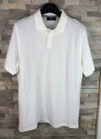 M&S Blue Harbour Mens Size L White Polo T Shirt Top