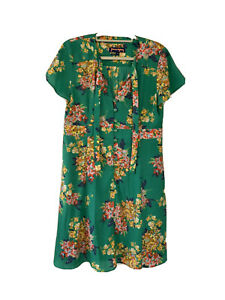 Princess Highway Green Buttondown Dress Floral Print With Neck Tie Size 16