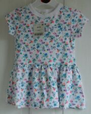 New Next baby girls short sleeve dress 100% cotton White/multi 9-12 months