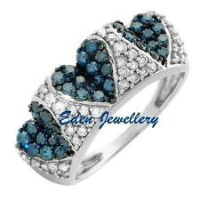US$2429 Gemological CERTIFIED Wedding Engagement Blue White Diamond Gold Ring