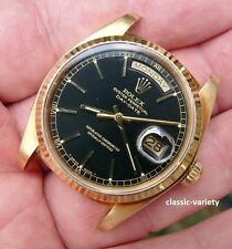 NICE ROLEX 18038 DAY-DATE PRESIDENT 18K GOLD MEN'S BLACK DIAL WATCH