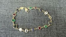 """Sapphire, Emerald and Ruby 18k Yellow Gold Bracelet 7"""""""