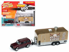 JOHNNY LIGHTNING JEEP CHEROKEE XJ SPORT MET RED & FOOD TRAILER 1/64 CAR JLTG001A