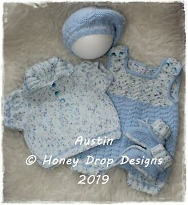 """A5 PAPER KNITTING PATTERN * AUSTIN * 19-23+"""" Reborn/Early Baby-3 Months approx."""