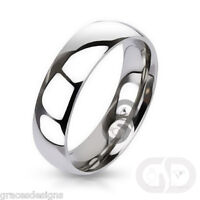 Mens Classic 6mm Traditional Wedding Band 316L Stainless Steel Ring Sizes 5 - 13