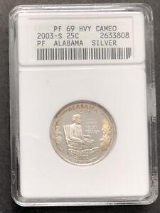 2003 S Washington State Quarter Silver ANACS PF 69 HVY Cameo ALABAMA #32093