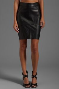 Alexander Wang Leather Back Flutter Skirt Size S Indigo