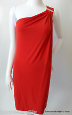 MICHAEL KORS Size Small One Shoulder Red Grecian Style Shift Dress