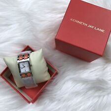 NEW Kenneth Jay Lane Stainless Steel Orange Studded Band Watch 1500 Series
