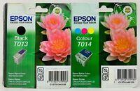 GENUINE ORIGINAL EPSON T013 BLACK T014 COLOUR INK CARTRIDGE TWIN PACK