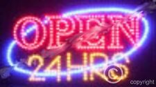 QUALITY FLASHING OPEN 24 HRS HOURS LED sign board new window shop sign