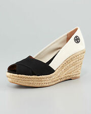Tory Burch Color block Sandal Women's Espadrille Black Natural NIB Size 10