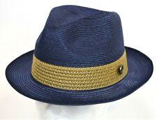 Men's Fedora Dress Hat Straw Summer Navy Blue/Cognac 100% Milan Hemp BW-844