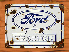 "TIN SIGN ""Ford Tractor"" White Rustic Farm Barn Wall Decor"