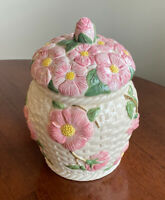 "Franciscan Desert Rose Basket Weave 10"" Cookie Jar Canister with Rubber Seal"
