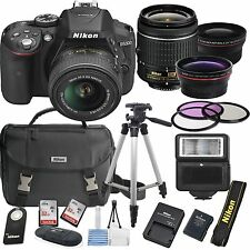 Nikon D5300 Digital Slr Camera Body 3 Lens Kit 18-55mm Lens + 64Gb