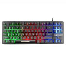 87 Key USB E-sports Wired Game Keyboard Rainbow Backlight Mechanical Keypads US