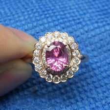 5x7MM Oval Cut 1.06CT Natural Pink Sapphire Double Halo Diamonds Ring 14K R-Gold