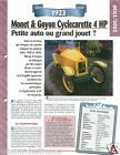 Monet & Goyon Cyclecarette 4 HP 1 Cyl. 1923 France Car Auto Retro FICHE FRANCE