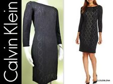 Calvin Klein Size S Black Perforated Knit Sheath Sweater Dress