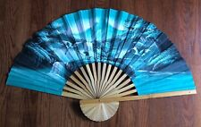 Large Fan Wall Decor Hanging Art Storks Mountains Thailand Vintage Gorgeous