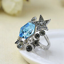 New Trendy Retro Stars Rhinestone Ring Finger Rings Fashion Women Jewelry Gifts