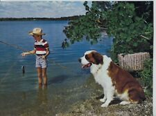 Vintage 1960's-70s Print St. Bernard Dog Boy Cane Fishing Titled: A Keeper
