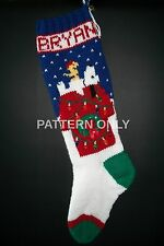Pattern Only Hand Knitted Beagle on a Doghouse Christmas Stocking