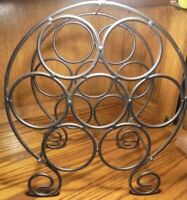 Vtg Wrought Iron Black Large Scroll Wine Rack- For 7 Bottles- Bar Home Decor Box